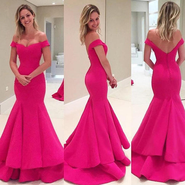 Off Shoulder Peach Mermaid Prom Dress, Open Back Lovely Jersey Prom Dress, Prom Dresses, VB0108 - Visionbridal