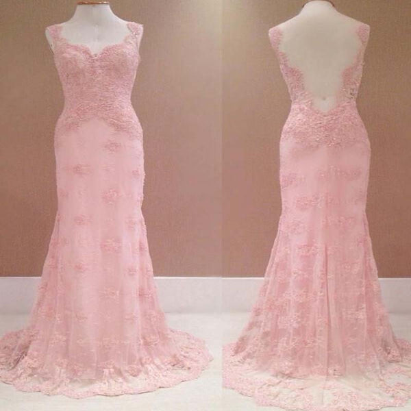 Pink Cap Straps Lace Tulle Floor Length Prom Dress, Open Back Charming Prom Dress, Prom Dresses, VB0212 - Visionbridal