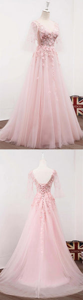 Gorgeous Pink V-Neck Lace Top Half Sleeve Long A-Line Tulle Prom Dresses With Appliques, Lovely Prom Dresses, VB01219