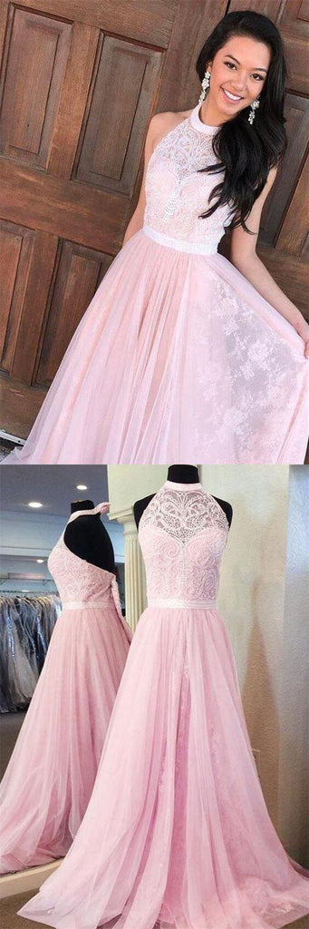 Unique Pink Halter Lace Top Long A-Line Tulle Prom Dresses, Popular Prom Dresses, VB01256