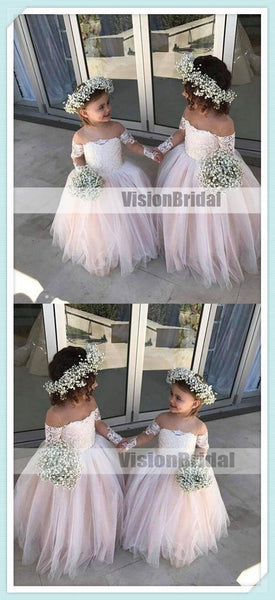 Lovely Pink Off Shoulder Top Lace Ball Gown Flower Girl Dresses, A-Line Tulle Flower Girl Dresses, Flower Girl Dresses, VB0881