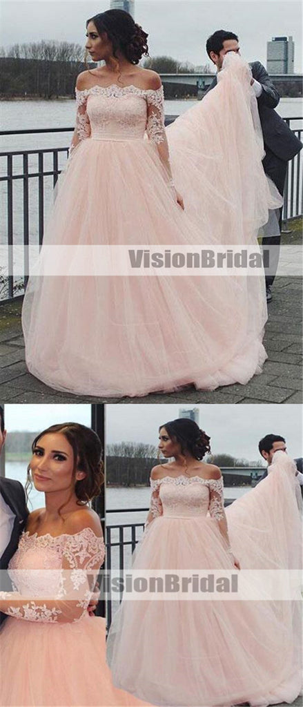 Beautiful Pink Off Shoulder Top Lace Long Sleeves A-Line Tulle Wedding Dresses With Trailing, Alluring Wedding Dresses, VB0918