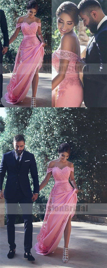 Cheap Pink Off Shoulder Detachable A-Line Long New-Arrival Formal Prom Dress With Lace, Prom Dresses, VB0801