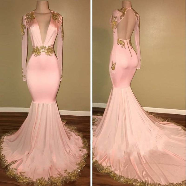 Pink Deep V-neck Long Sleeves Mermaid Prom Dress, Open Back Prom Dress With Golden Embroidery, VB080 - Visionbridal