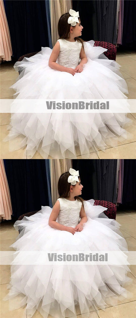 Princess White Long A-Line Flower Girl Dresses, Beautiful Beading Scoop Neckline Sleeveless Flower Girl Dresses, VB0974