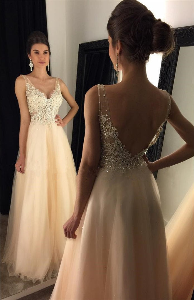 Newest 2017 V-Neck Appliques Beaded Long A-line  Tulle Prom Dresses, VB011 - Visionbridal