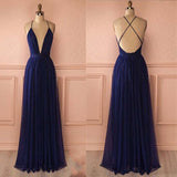 Deep V-neck Prom Dress, Cross Back Prom Dress, Sleeveless Prom Dress, Affordable Prom Dress, VB063 - Visionbridal