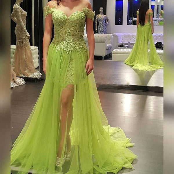Off Shoulder Lace Top Green Tulle Long A-line See Through Popular Prom Dresses, VB017 - Visionbridal