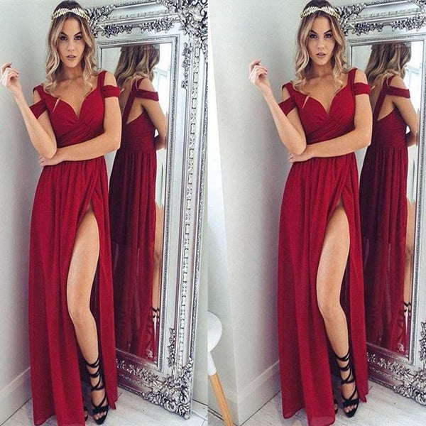 93180feecfd Off Shoulder Red Prom Dress, Sexy Side Slit Long Prom Dress, Charming Prom  Dress