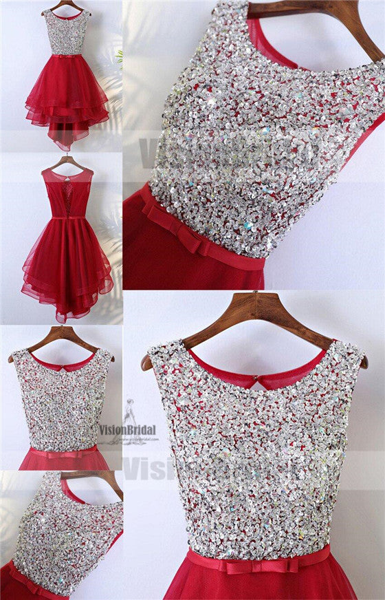 Sparkly Red HI-Lo Sleeveless Round Neckline Key Hole Back Rhinestone Sequins Homecoming Dresses, Homecoming Dresses, VB0819