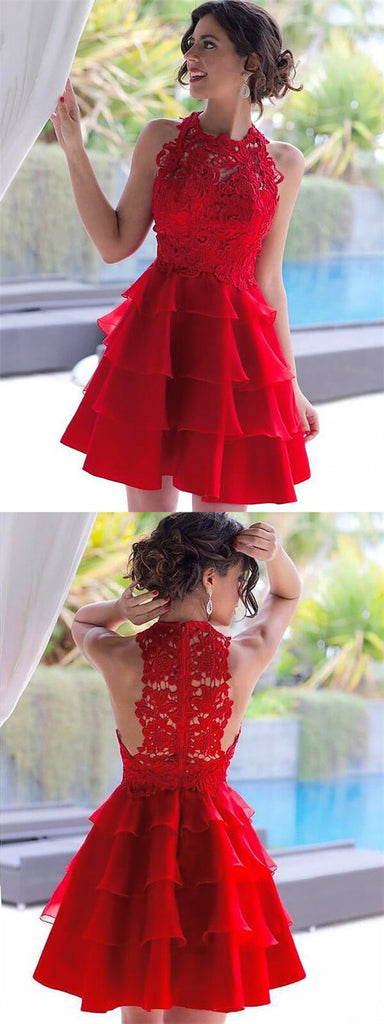 Attractive Red High Neck Lace Top Zipper Up Cupcake Homecoming Dresses, Charming Layered Homecoming Dresses, VB01177