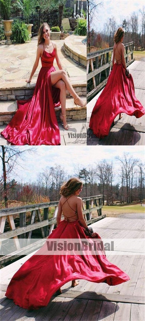Sexy Spaghetti Straps Crisscross Back Front Slit A-Line Floor Length Prom Dress, Prom Dress, VB0497