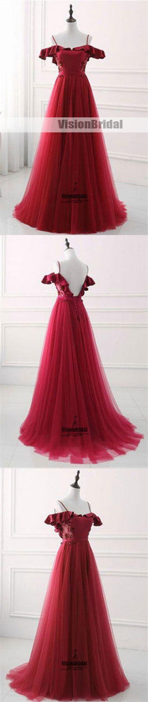 Red Spaghetti Straps Off The Shoulder With Ruffles Lace Up A-Line Long Tulle Prom Dress, Beautiful Prom Dress, VB0465
