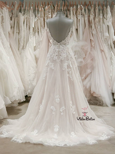 Spaghetti Straps Open Back Long A-Line Tulle Wedding Dresses With Lace Appliques, Wedding Dresses, VB01720