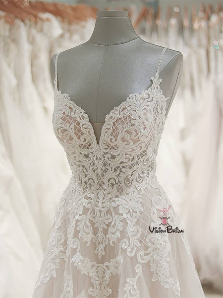 eb5ec878ded Spaghetti Straps Open Back Long A-Line Tulle Wedding Dresses With Lace  Appliques
