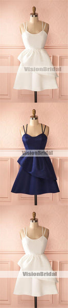 Simple And Elegant Spaghetti Straps Asymmetrical Homecoming Dresses, Beautiful Pleated Homecoming Prom Dresses, VB0910
