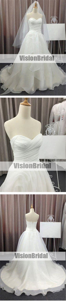 Simple Sweetheart Pleating Wedding Dress With Ruffles, Cheap Wedding Dresses With Trailing, Wedding Dresses, VB0852