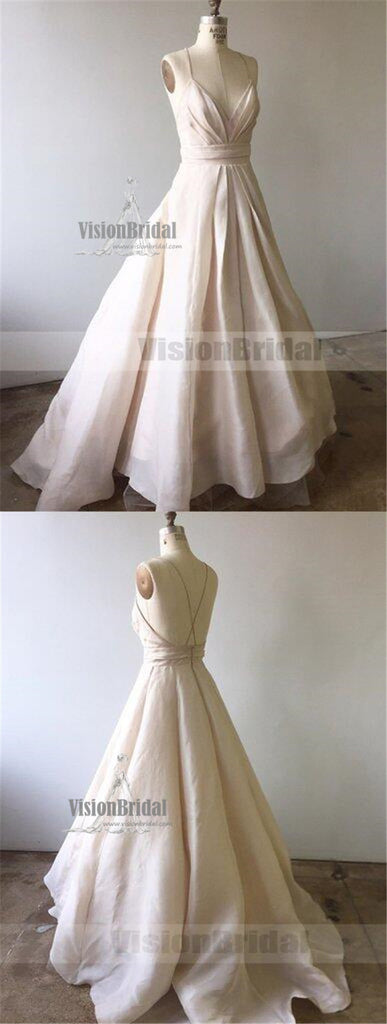 Charming Ivory Spaghetti Straps Crisscross Back Formal Prom Dress, Long A-Line Prom Dress, Prom Dress, VB0778