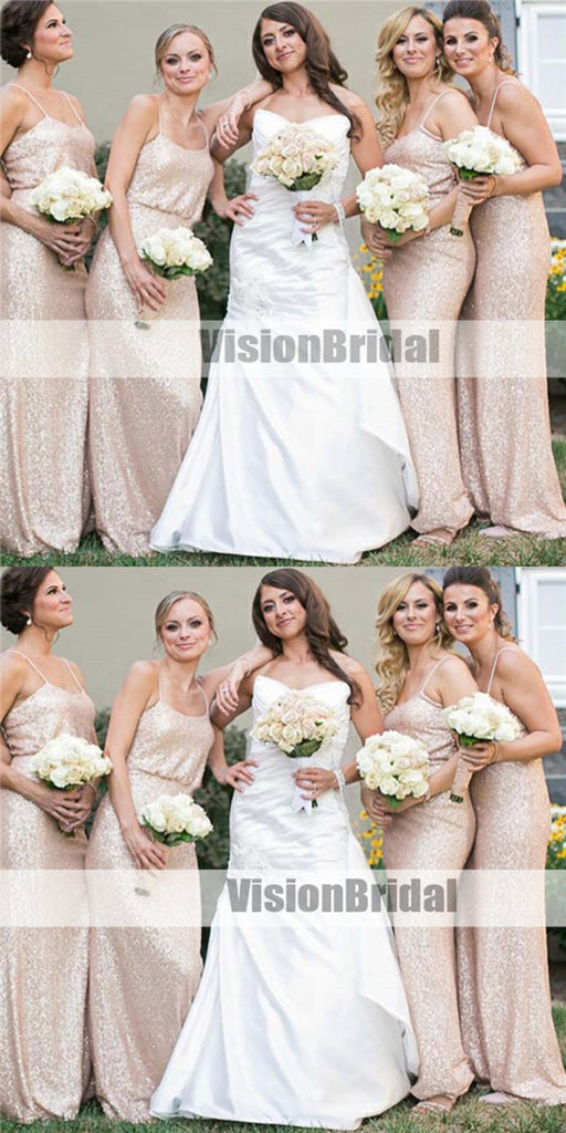 Spaghetti Straps Cheap Long Sequin Bridesmaid Dresses, Comfortable Column Bridesmaid Dresses, Cheap Bridesmaid Dresses, VB0982