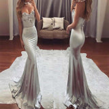 Sweetheart Grey Rhinestones Prom Dress, Sexy Mermaid Floor Length Prom Dress, Prom Dresses, VB0227 - Visionbridal