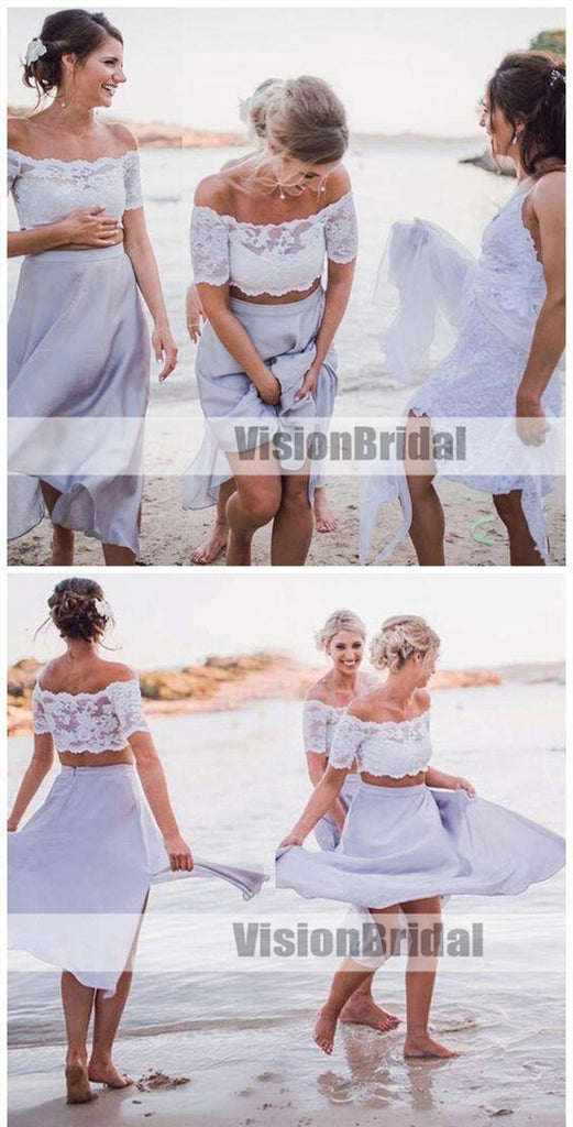 Sexy Two Pieces Short Sleeve Lace Lilac Short Bridesmaid Dresses, Bridesmaid Dresses, VB0894
