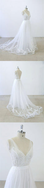 2018 Simple V Neck Lace Chapel Tail A-line White Wedding Dresses Online, VB01002