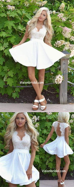 Unique White Lace Top V-Neck Cap Sleeve Open Back A-Line Homecoming Dresses, Popular Homecoming Dresses, VB01035