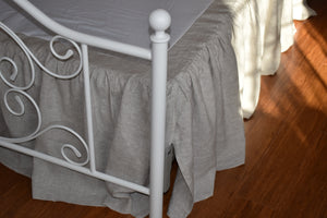 Linen Bed Skirt with  Ruffled  Drop