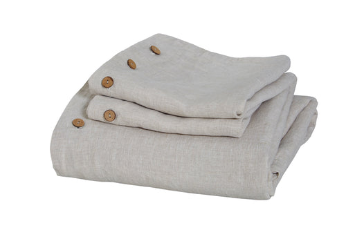 Pure Linen Duvet Cover Set (3 PC) in Natural Linen Color, with Coconut Button Closure