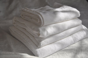 Pure Linen Sheet Set (4 PC) with Hemstitch Details, White