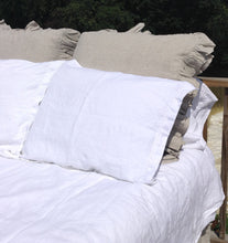 Pure Linen Euro Sham Cover with Tiered Ruffled Edge