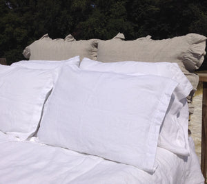 Pure Linen Duvet Cover Set (3 PC) in White, with Hemstitch Details