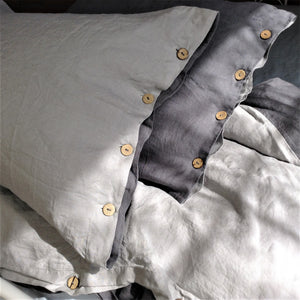 Pure Linen Duvet Cover in Contrast Colors (Charcoal/Light Grey), with Coconut Button Closure, with Bonus Standard Shams