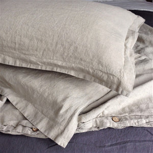 Pure Linen Duvet Cover in Natural Linen Color, with Bonus Standard Shams