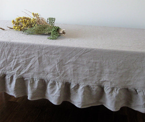 Pure Linen Table Cover with Ruffled Edge