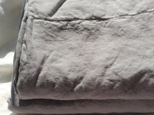 Pure Linen Sheet Set (4 PC) with Hemstitch Details, Light Grey Color