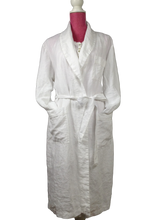 Pure Linen Bathrobe with Shawl Collar in White