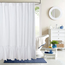 Pure Linen Shower Curtain with Ruffled Bottom