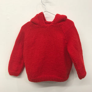 New Hooded Hand Knit aprox 2-3 years Red