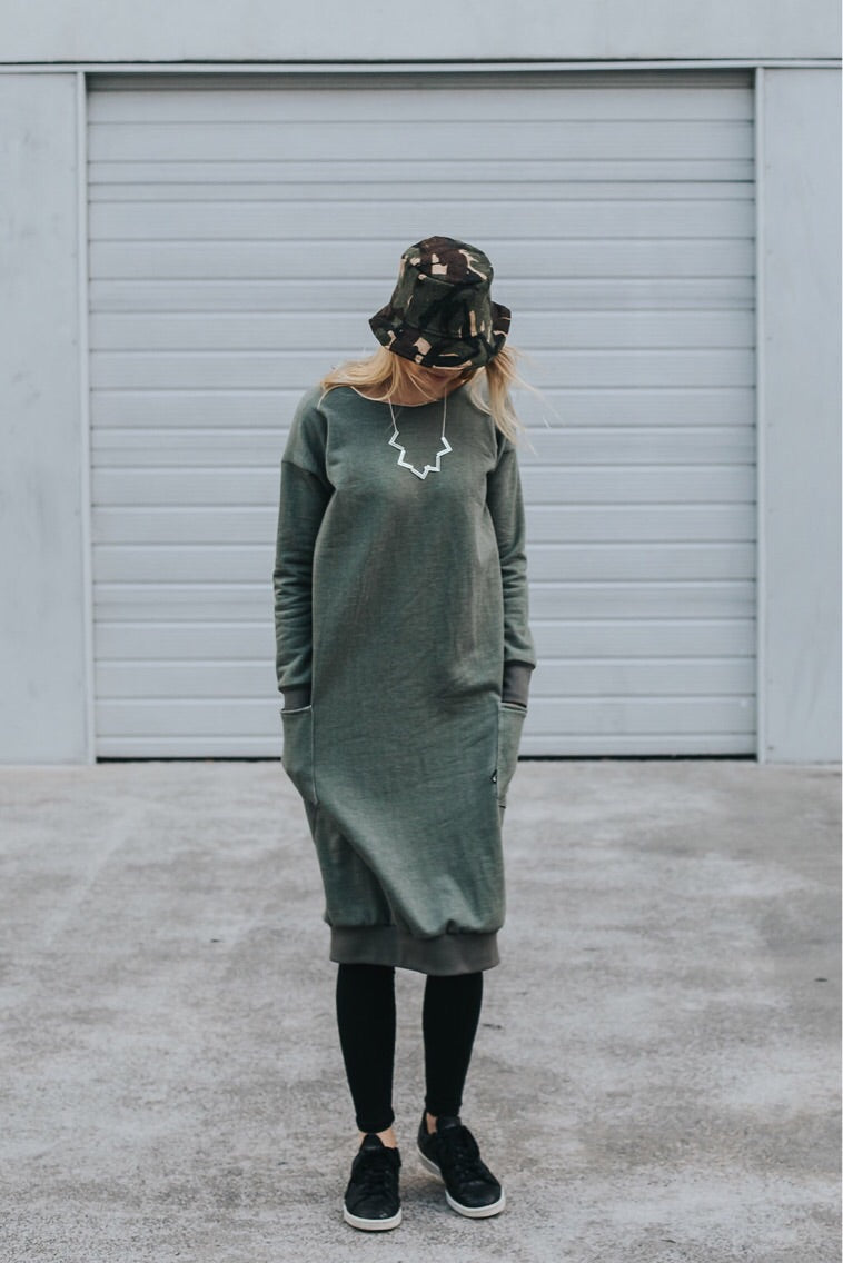 Fabrik8 Fisty Cuffs Sweater Dress Olive