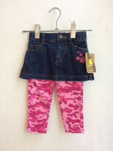 Brand New Carhartt Denim Skirt and Pink camo leggings 2T
