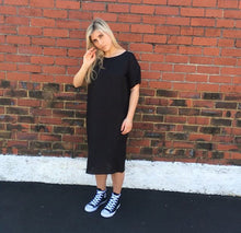 Black Linen Box Dress -Ready to Send