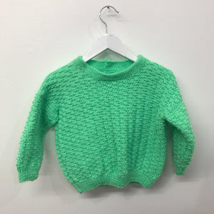New Hand Knit Fluro Lime 3-4 years