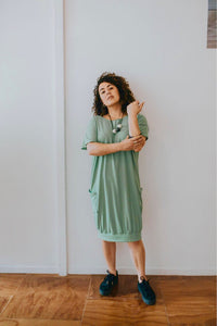 Ready to Send Fabrik8 Box Cuff Dress Spring Green