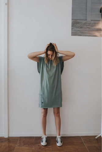 Fabrik8 Beach Box Dress Sage-Ready to Send