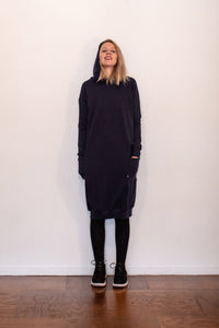 Fabrik8 Hooded Fisty Cuffs Sweater Dress -Navy - Ready To Send