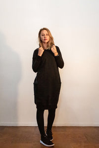 Fabrik8 Hooded Fisty Cuffs Sweater Dress - Black