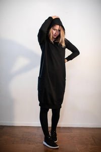 Fabrik8 Hooded Fisty Cuffs Sweater Dress - Black- Ready To Send