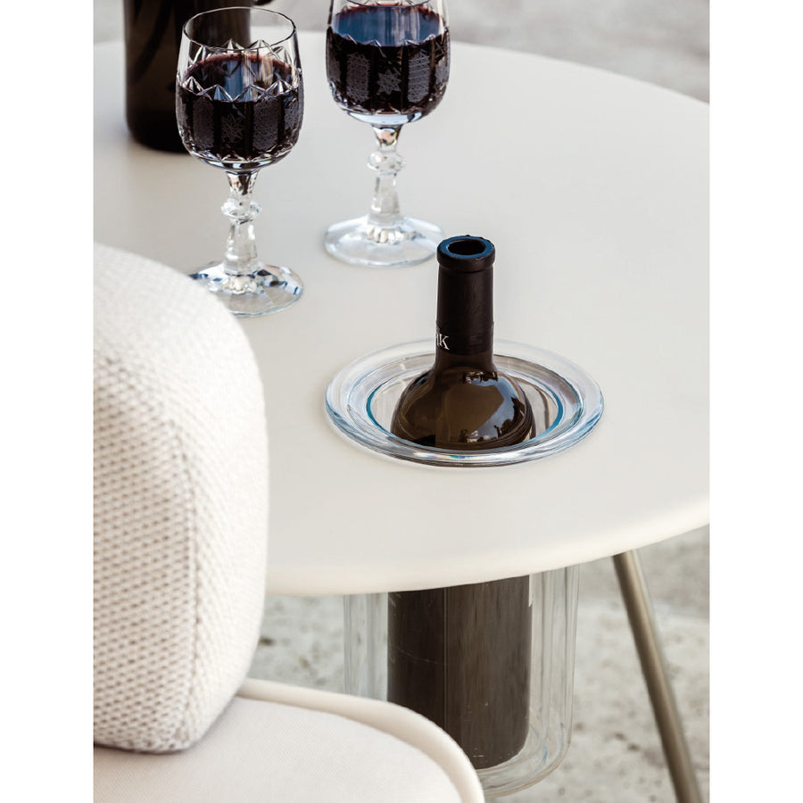 Air side table round with wine cooler