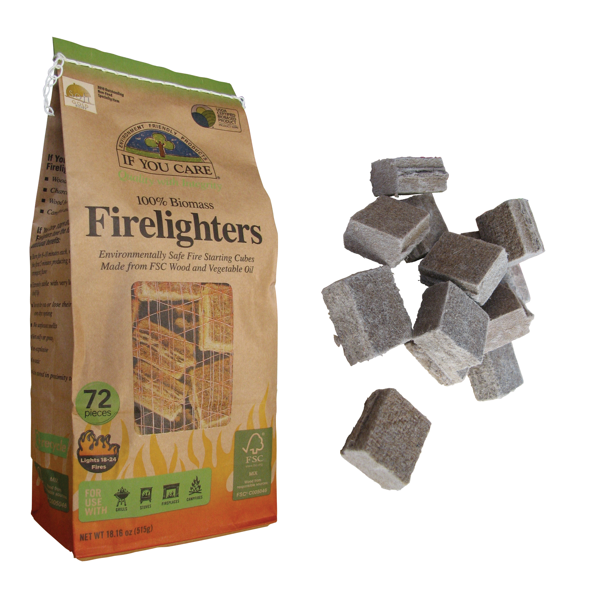 If You Care Non-toxic Wood and Vegetable Oil Firelighters 72